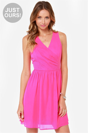 LULUS Exclusive Tuck and Cover Fuchsia Dress