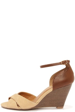 City Classified Missy Beige and Tan Peep Toe Wedge Sandals