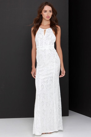 Shimmer and Shine Silver and Ivory Lace Maxi Dress at Lulus.com!