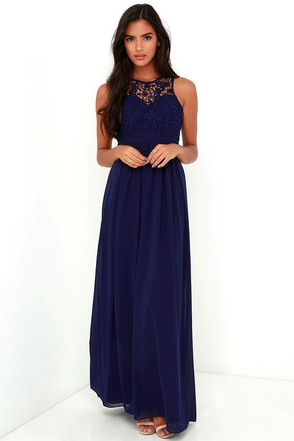 So Far Gown Navy Blue Lace Maxi Dress at Lulus.com!