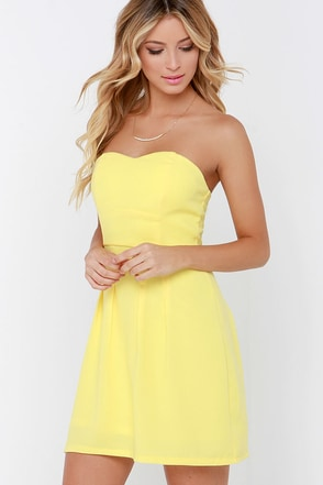 Classy Knoll Yellow Strapless Dress at Lulus.com!