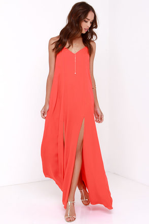 Plume Oneself Coral Red Maxi Dress at Lulus.com!