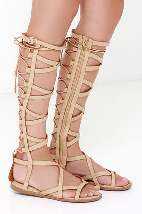 Huntress Camel Beige Tall Gladiator Sandals at Lulus.com!