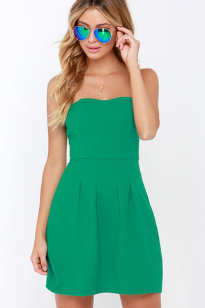 Classy Knoll Green Strapless Dress at Lulus.com!