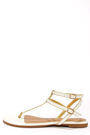 City Classified Daren White and Gold Ankle Strap Thong Sandals