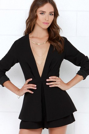 Finders Keepers Next In Line to Take a Bow Black Romper at Lulus.com!