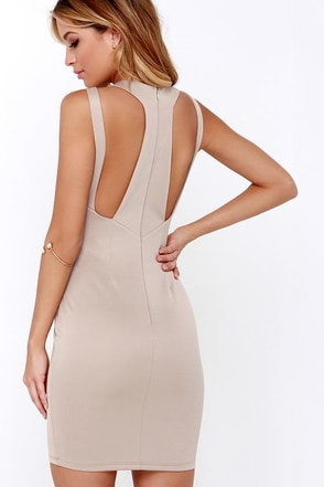 Swanky Rankings Beige Bodycon Dress at Lulus.com!