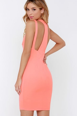 Swanky Rankings Coral Bodycon Dress at Lulus.com!