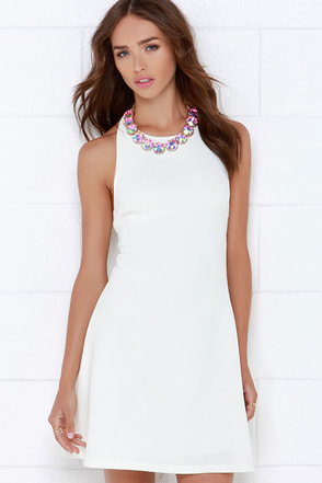 Count On Me Ivory Halter Dress at Lulus.com!