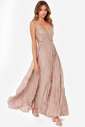 Snowy Meadow Crocheted Taupe Maxi Dress