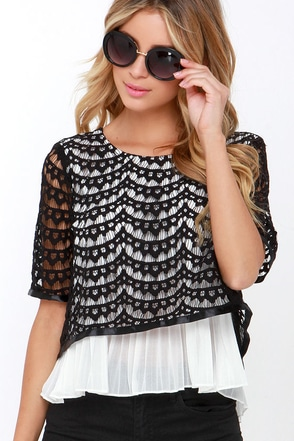 To Top it All Ivory and Black Lace Top at Lulus.com!