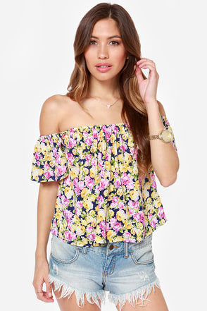 Living in Zen Navy Blue Floral Print Top