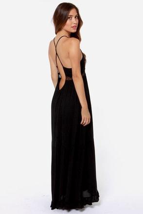 I Know A Place Black Backless Maxi Dress