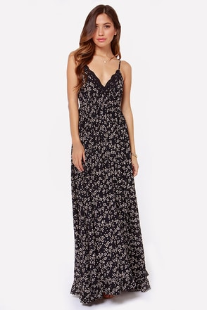 New Day Navy Blue Floral Print Maxi Dress