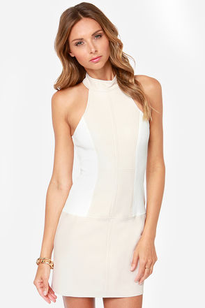 Mink Pink Above You Ivory Vegan Leather Dress