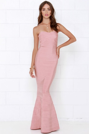 Blush Pink Dress Strapless Maxi Dress Bandage Dress
