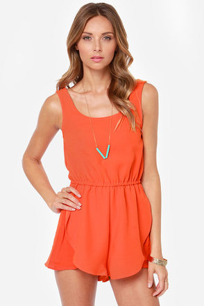 Mink Pink The Seeker Orange Romper at Lulus.com!