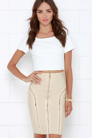 Zip It Up Beige Bandage Skirt at Lulus.com!