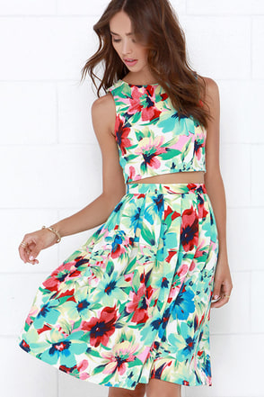 Splendidly Spry Blue Floral Print Two-Piece Midi Dress at Lulus.com!