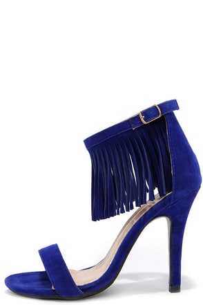 Fringe Forward Blue Fringe Heels at Lulus.com!