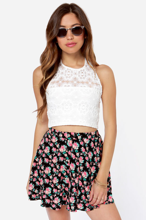 Mink Pink Sweet Thing Ivory Lace Crop Top