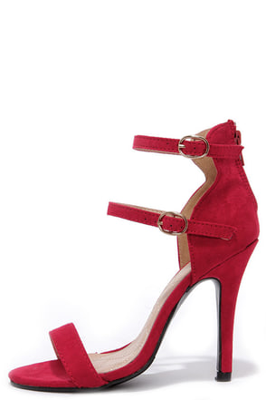 Legs for Days Red Suede Ankle Strap Heels at Lulus.com!