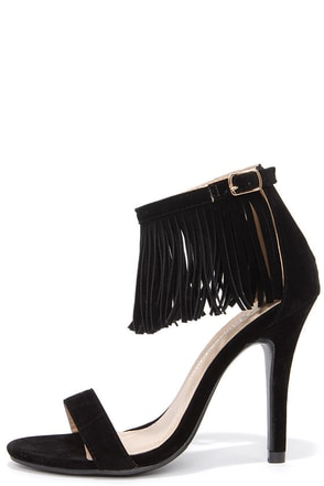 Fringe Forward Black Fringe Heels at Lulus.com!