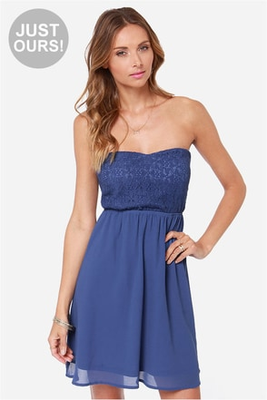 LULUS Exclusive Fun Forever Crochet Blue Dress