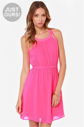 LULUS Exclusive Change Your Tune Hot Pink Dress