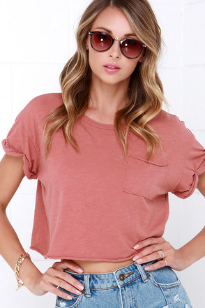 Project Social T Quick-Witted Dusty Rose Crop Tee at Lulus.com!