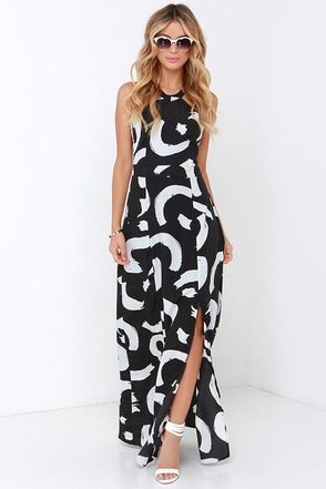 I. Madeline Be So Bold Ivory and Black Print Maxi Dress at Lulus.com!