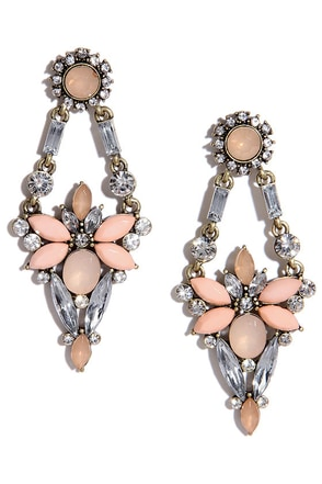 Mists of Time Peach Rhinestone Earrings at Lulus.com!