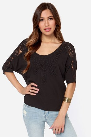 Where They Wander Crochet Black Top
