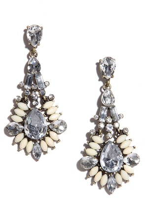 Marquise, Please Cream Rhinestone Earrings at Lulus.com!