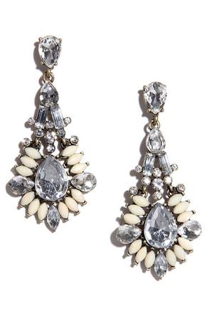 Marquise, Please Peach Rhinestone Earrings at Lulus.com!