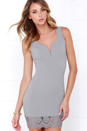 Beauty and the Beat Grey Lace Bodycon Dress at Lulus.com!