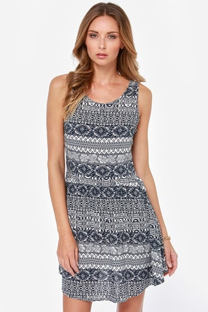 Winning Hand Navy Blue Print Dress