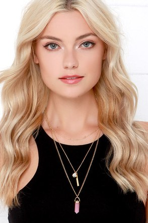 Best of Three Gold and Pink Layered Necklace at Lulus.com!
