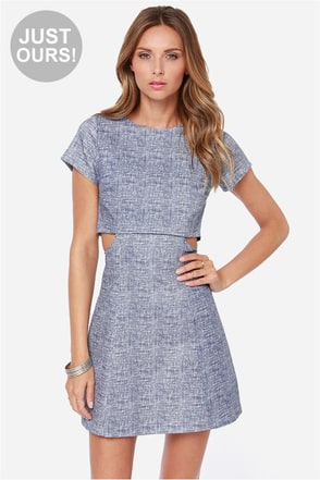 LULUS Exclusive Hit Rewind Blue Print Dress