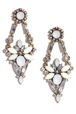 Mists of Time Cream Rhinestone Earrings at Lulus.com!