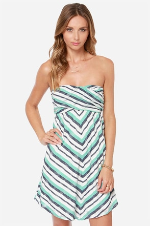 Roxy Cedar Ridge Strapless Turquoise Striped Dress
