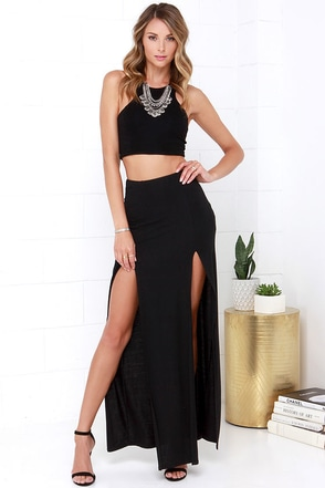 Full Speed Ahead Black Two-Piece Maxi Dress at Lulus.com!