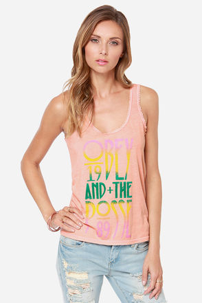 Obey Summer Gothic Peach Print Tank Top