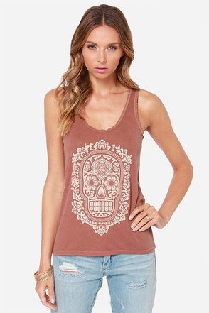 Obey Day of the Dead Burnt Henna Skull Print Tank Top