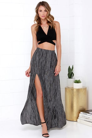 Stripe Left or Right Black and White Striped Maxi Skirt at Lulus.com!
