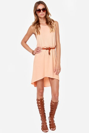 Obey Tie Dye Mental Sleeveless Peach Dress