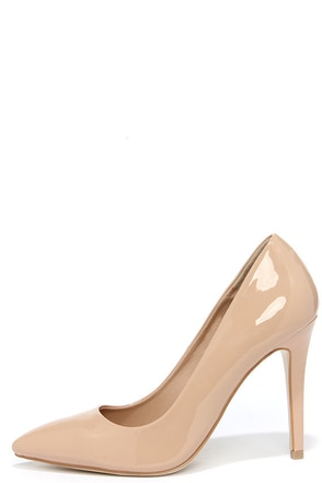 Sole Mate Nude Patent Pointed Pumps at Lulus.com!