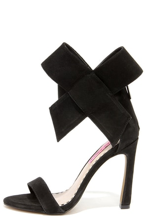 Betsey Johnson Friskyy Black Suede Leather High Heel Sandals at Lulus.com!