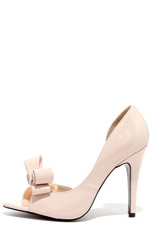 Best Bow-lieve It Nude D'Orsay Peep Toe Pumps at Lulus.com!