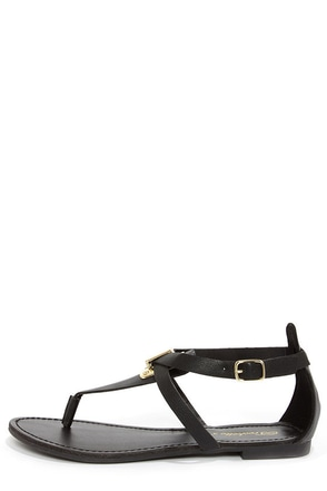 Silvia 12 Black and Gold Thong Sandals
